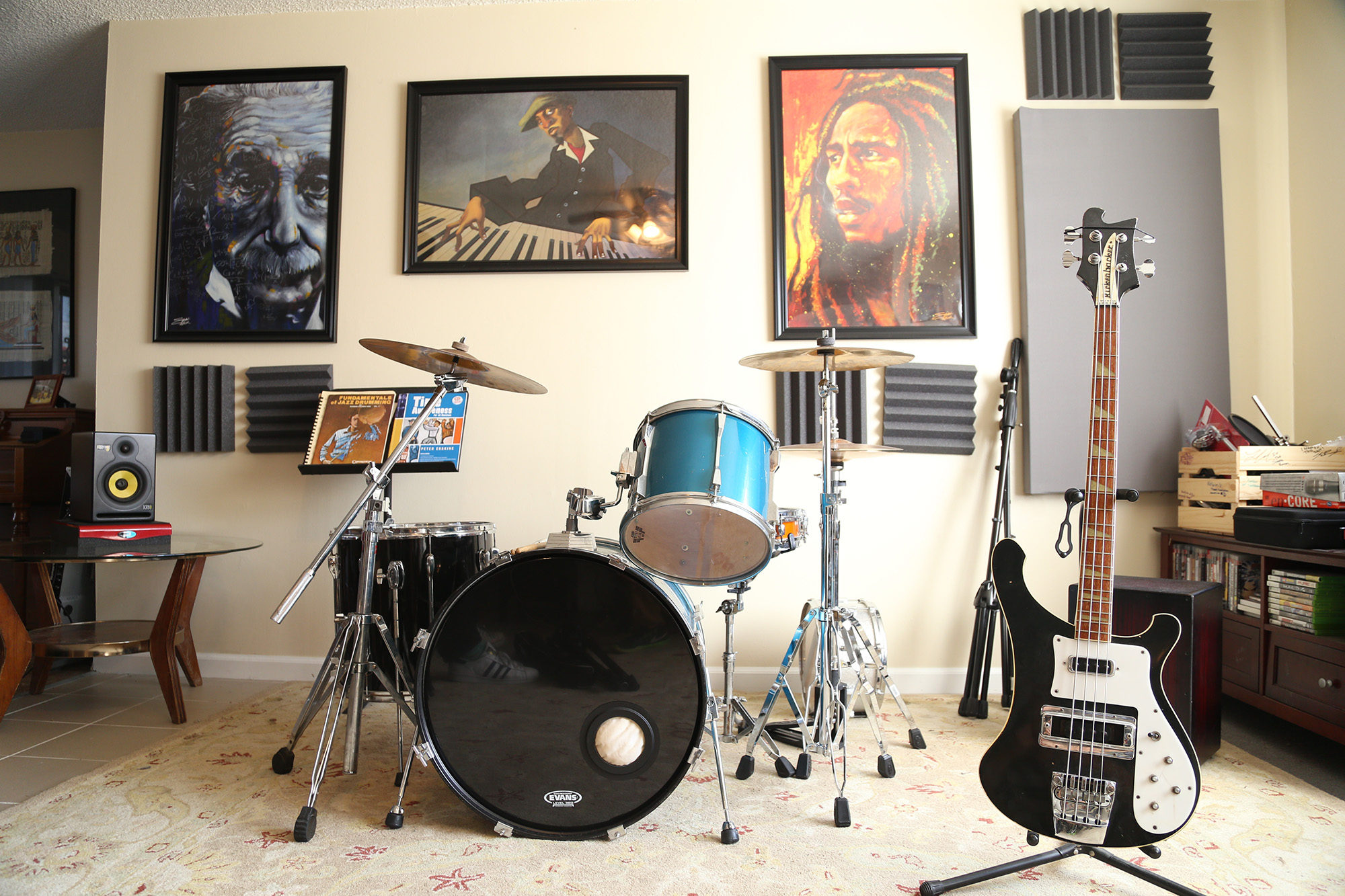 The Sauna studio with instruments and paintings